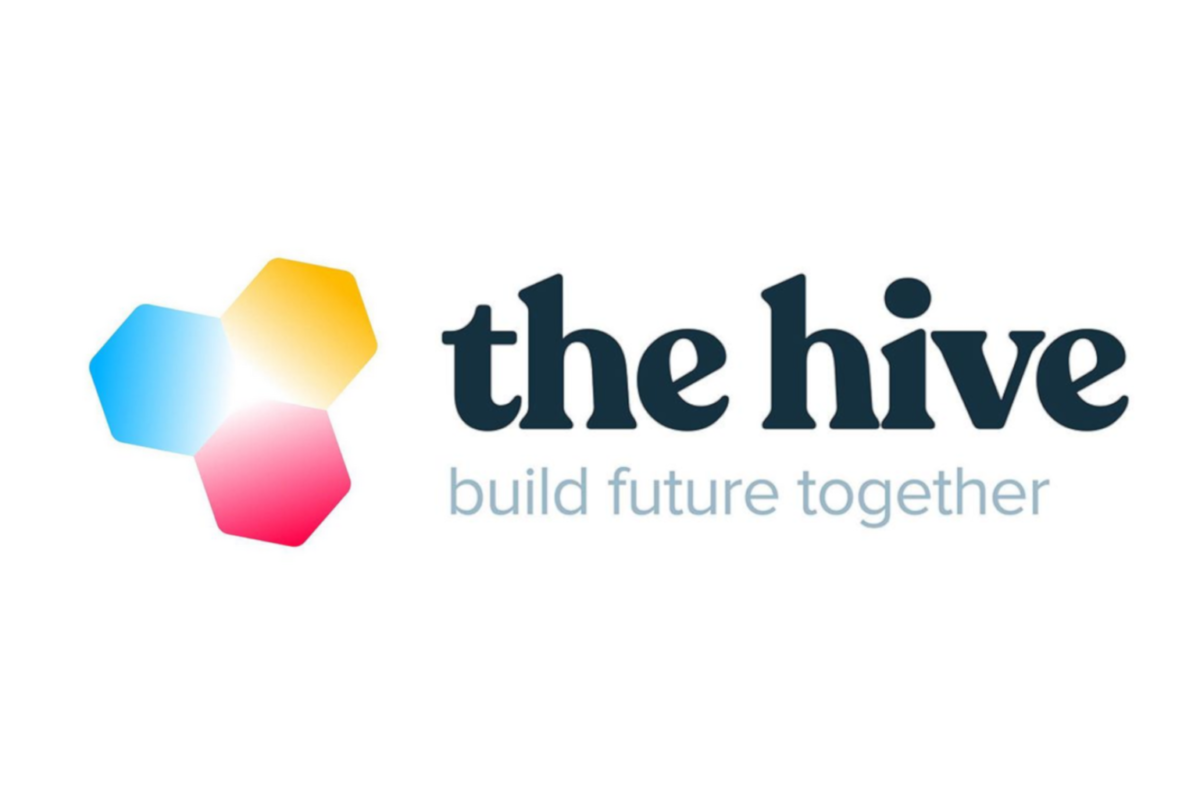 """Das Bild zeigt das Logo des Gründerzentrums """"the hive"""""""